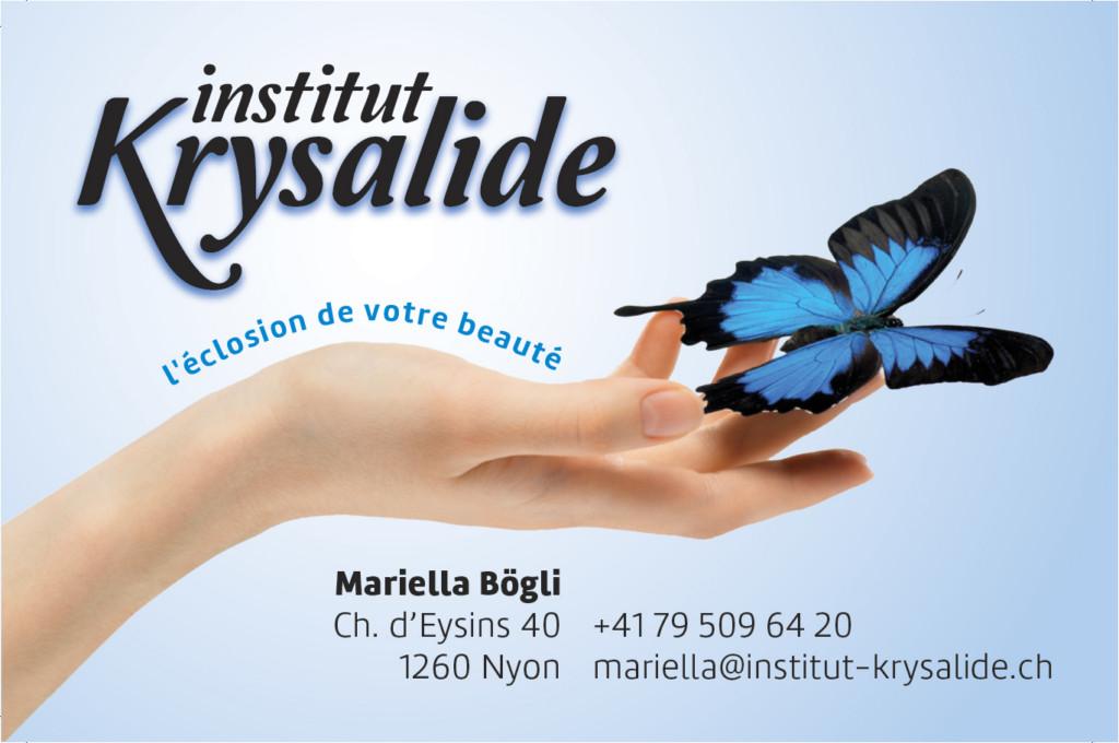 Carte de visite de l'institut Krysalide à Nyon